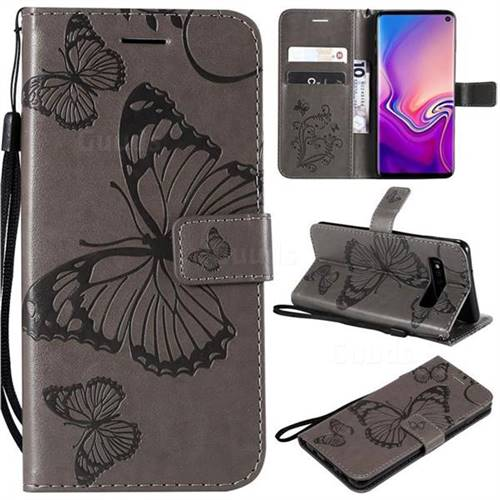 Embossing 3D Butterfly Leather Wallet Case for Samsung Galaxy S10 (6.1 inch) - Gray
