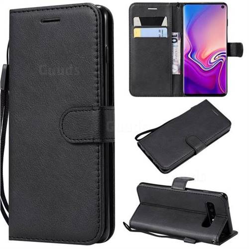 Retro Greek Classic Smooth PU Leather Wallet Phone Case for Samsung Galaxy S10 (6.1 inch) - Black