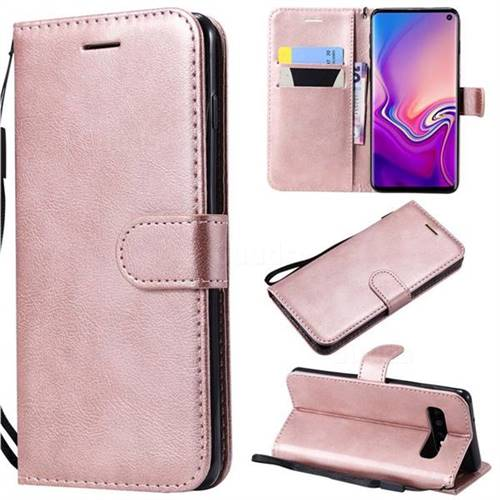 Retro Greek Classic Smooth PU Leather Wallet Phone Case for Samsung Galaxy S10 (6.1 inch) - Rose Gold