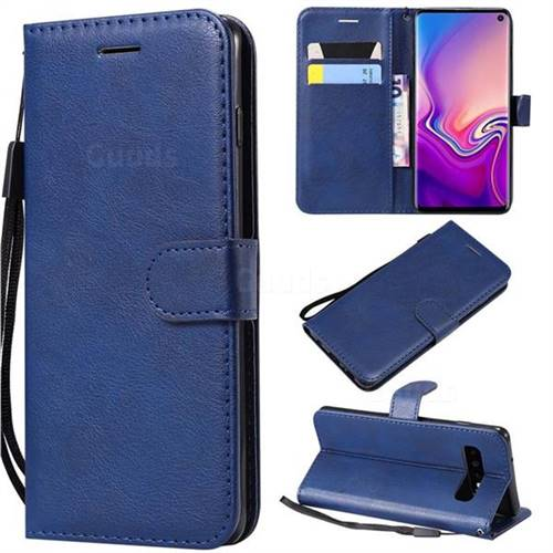 Retro Greek Classic Smooth PU Leather Wallet Phone Case for Samsung Galaxy S10 (6.1 inch) - Blue