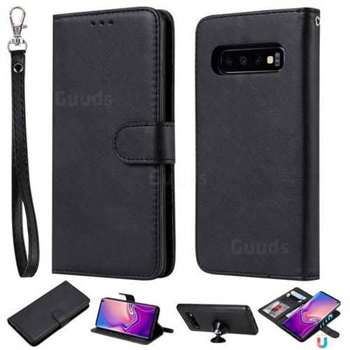 Retro Greek Detachable Magnetic PU Leather Wallet Phone Case for Samsung Galaxy S10 (6.1 inch) - Black