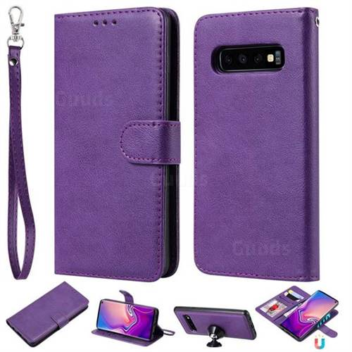Retro Greek Detachable Magnetic PU Leather Wallet Phone Case for Samsung Galaxy S10 (6.1 inch) - Purple