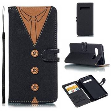 Mens Button Clothing Style Leather Wallet Phone Case for Samsung Galaxy S10 (6.1 inch) - Black