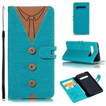 Mens Button Clothing Style Leather Wallet Phone Case for Samsung Galaxy S10 (6.1 inch) - Green