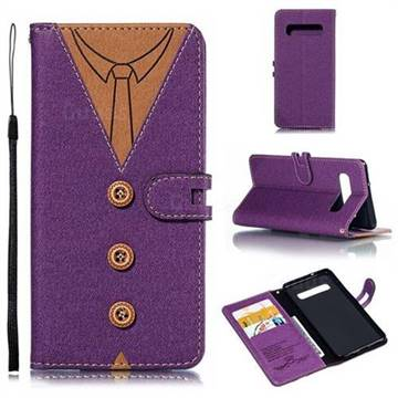 Mens Button Clothing Style Leather Wallet Phone Case for Samsung Galaxy S10 (6.1 inch) - Purple