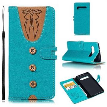 Ladies Bow Clothes Pattern Leather Wallet Phone Case for Samsung Galaxy S10 (6.1 inch) - Green