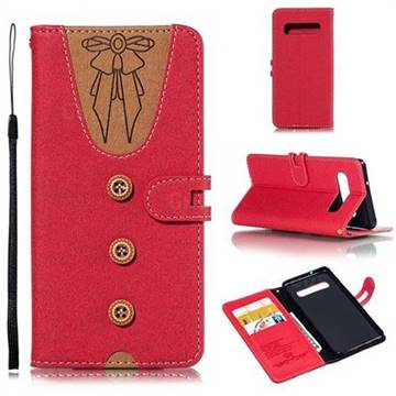Ladies Bow Clothes Pattern Leather Wallet Phone Case for Samsung Galaxy S10 (6.1 inch) - Red