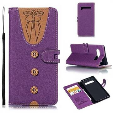 Ladies Bow Clothes Pattern Leather Wallet Phone Case for Samsung Galaxy S10 (6.1 inch) - Purple