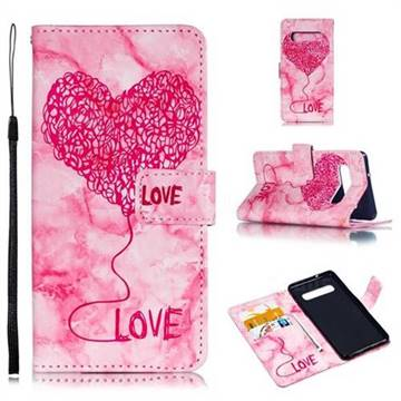 Marble Heart PU Leather Wallet Phone Case for Samsung Galaxy S10 (6.1 inch) - Red