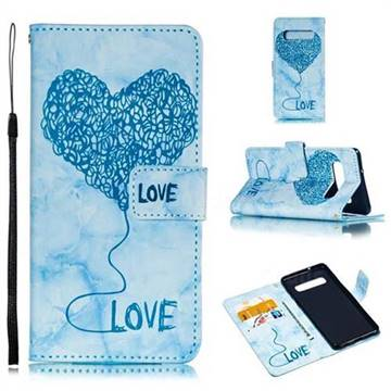 Marble Heart PU Leather Wallet Phone Case for Samsung Galaxy S10 (6.1 inch) - Blue