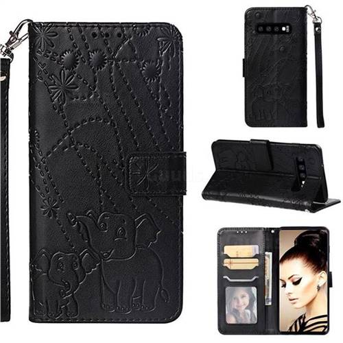 Embossing Fireworks Elephant Leather Wallet Case for Samsung Galaxy S10 (6.1 inch) - Black