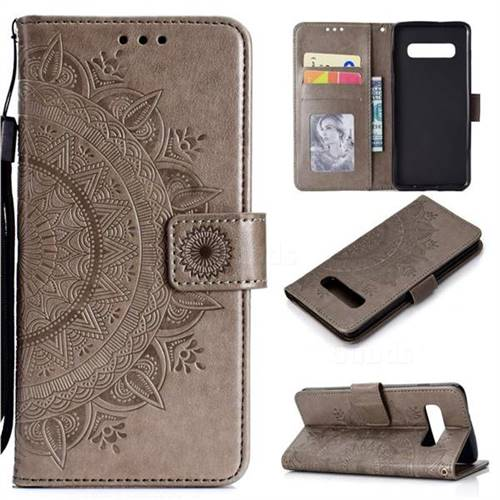 Intricate Embossing Datura Leather Wallet Case for Samsung Galaxy S10 (6.1 inch) - Gray