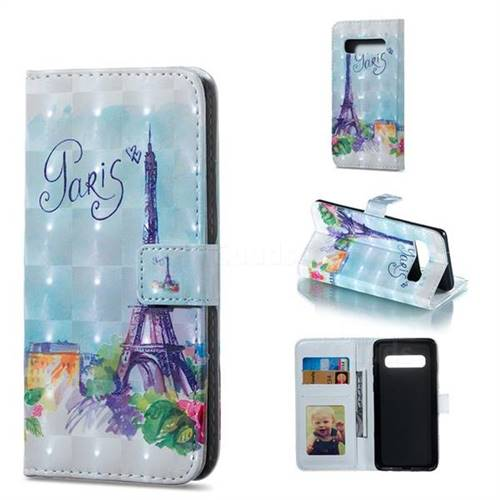 Paris Tower 3D Painted Leather Phone Wallet Case for Samsung Galaxy S10 (6.1 inch)