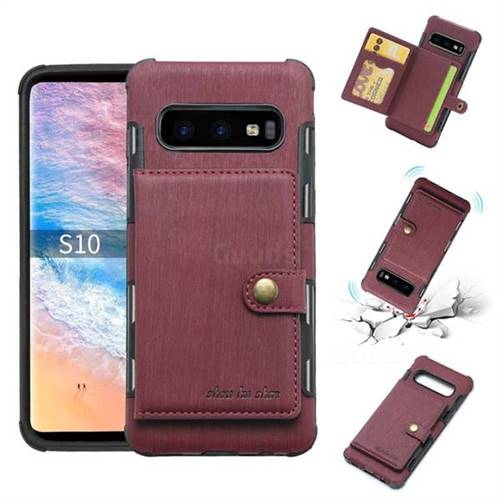 Brush Multi-function Leather Phone Case for Samsung Galaxy S10 (6.1 inch) - Wine Red