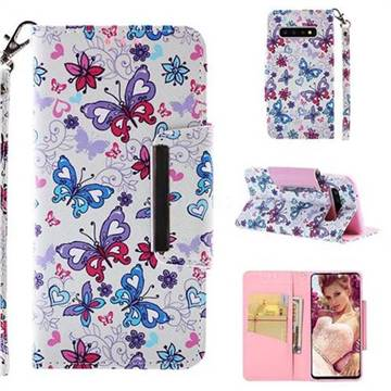 Colored Butterfly Big Metal Buckle PU Leather Wallet Phone Case for Samsung Galaxy S10 (6.1 inch)
