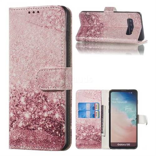 Glittering Rose Gold PU Leather Wallet Case for Samsung Galaxy S10 (6.1 inch)