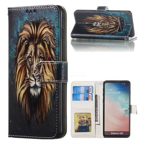 Ice Lion 3D Relief Oil PU Leather Wallet Case for Samsung Galaxy S10 (6.1 inch)