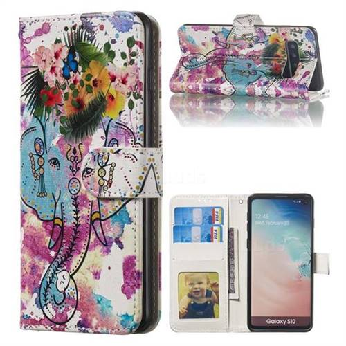 Flower Elephant 3D Relief Oil PU Leather Wallet Case for Samsung Galaxy S10 (6.1 inch)