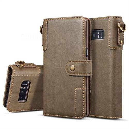 Retro Luxury Cowhide Leather Wallet Case for Samsung Galaxy S10 (6.1 inch) - Coffee