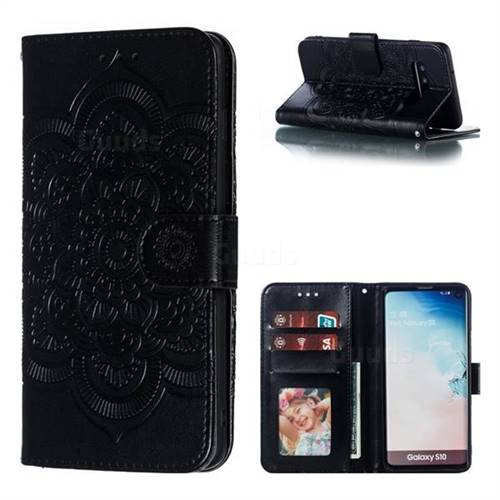 Intricate Embossing Datura Solar Leather Wallet Case for Samsung Galaxy S10 (6.1 inch) - Black