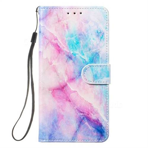 Blue Pink Marble Smooth Leather Phone Wallet Case for Samsung Galaxy S10  (6 1 inch)
