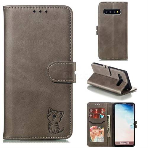 Embossing Happy Cat Leather Wallet Case for Samsung Galaxy S10 (6.1 inch) - Gray
