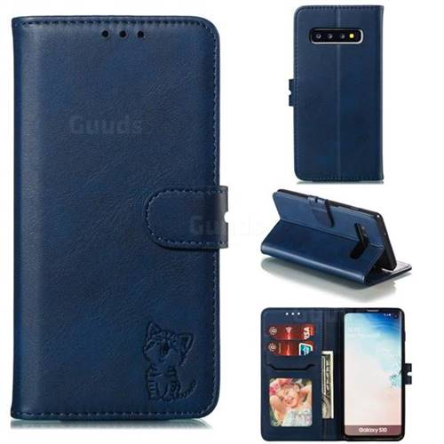 Embossing Happy Cat Leather Wallet Case for Samsung Galaxy S10 (6.1 inch) - Blue