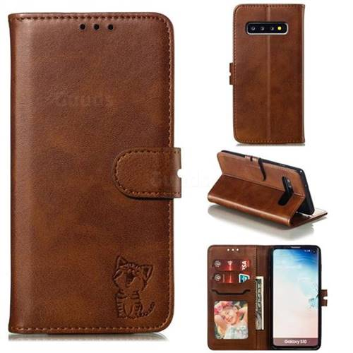 Embossing Happy Cat Leather Wallet Case for Samsung Galaxy S10 (6.1 inch) - Brown