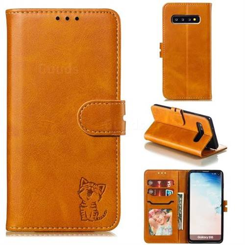 Embossing Happy Cat Leather Wallet Case for Samsung Galaxy S10 (6.1 inch) - Yellow