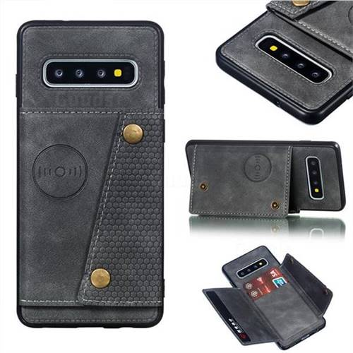 Retro Multifunction Card Slots Stand Leather Coated Phone Back Cover for Samsung Galaxy S10 (6.1 inch) - Gray