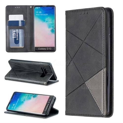 Prismatic Slim Magnetic Sucking Stitching Wallet Flip Cover for Samsung Galaxy S10 (6.1 inch) - Black