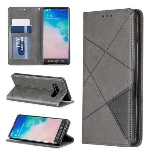Prismatic Slim Magnetic Sucking Stitching Wallet Flip Cover for Samsung Galaxy S10 (6.1 inch) - Gray