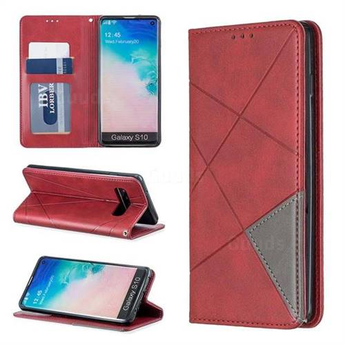 Prismatic Slim Magnetic Sucking Stitching Wallet Flip Cover for Samsung Galaxy S10 (6.1 inch) - Red