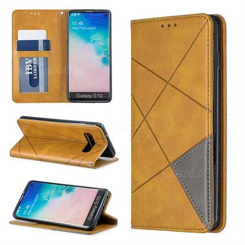 Prismatic Slim Magnetic Sucking Stitching Wallet Flip Cover for Samsung Galaxy S10 (6.1 inch) - Yellow