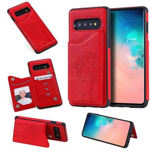 Luxury Tree and Cat Multifunction Magnetic Card Slots Stand Leather Phone Back Cover for Samsung Galaxy S10 (6.1 inch) - Red