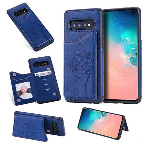 Luxury Tree and Cat Multifunction Magnetic Card Slots Stand Leather Phone Back Cover for Samsung Galaxy S10 (6.1 inch) - Blue