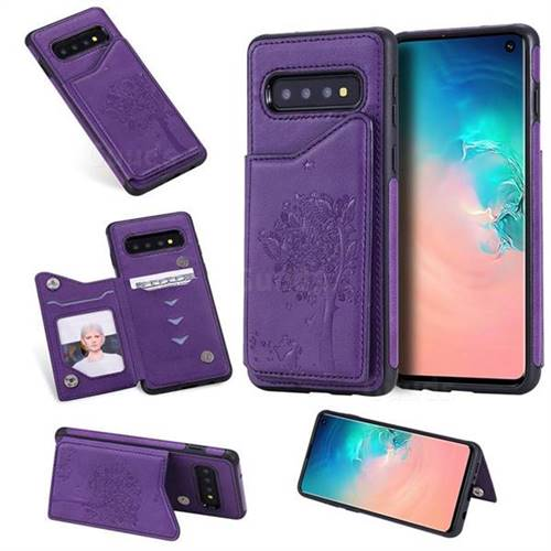 Luxury Tree and Cat Multifunction Magnetic Card Slots Stand Leather Phone Back Cover for Samsung Galaxy S10 (6.1 inch) - Purple