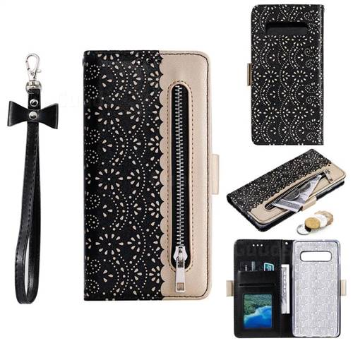 Luxury Lace Zipper Stitching Leather Phone Wallet Case for Samsung Galaxy S10 (6.1 inch) - Black