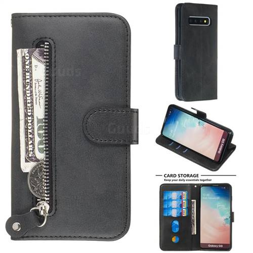 Retro Luxury Zipper Leather Phone Wallet Case for Samsung Galaxy S10 (6.1 inch) - Black