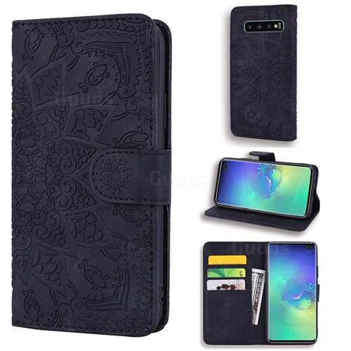 Retro Embossing Mandala Flower Leather Wallet Case for Samsung Galaxy S10 (6.1 inch) - Black