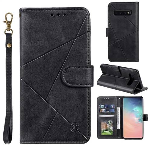 Embossing Geometric Leather Wallet Case for Samsung Galaxy S10 (6.1 inch) - Black