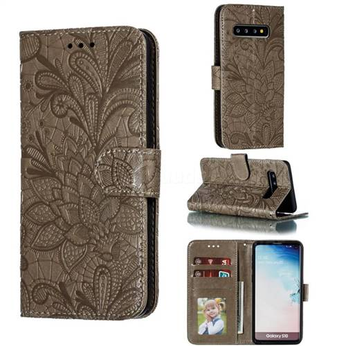 Intricate Embossing Lace Jasmine Flower Leather Wallet Case for Samsung Galaxy S10 (6.1 inch) - Gray