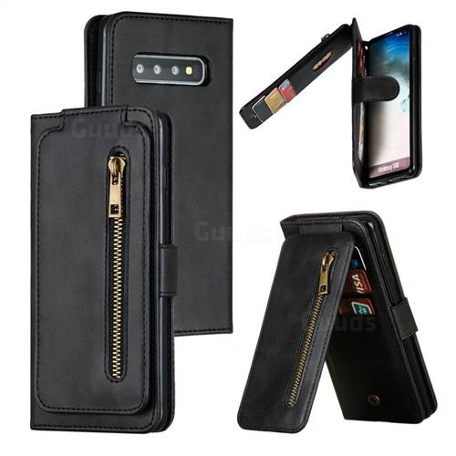 Multifunction 9 Cards Leather Zipper Wallet Phone Case for Samsung Galaxy S10 (6.1 inch) - Black