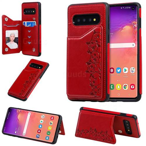 Yikatu Luxury Cute Cats Multifunction Magnetic Card Slots Stand Leather Back Cover for Samsung Galaxy S10 (6.1 inch) - Red