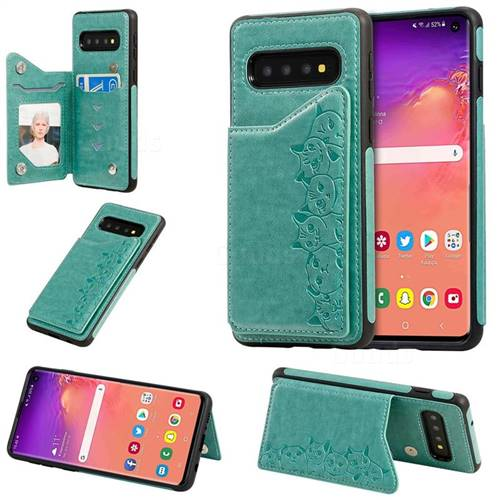 Yikatu Luxury Cute Cats Multifunction Magnetic Card Slots Stand Leather Back Cover for Samsung Galaxy S10 (6.1 inch) - Green