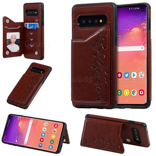 Yikatu Luxury Cute Cats Multifunction Magnetic Card Slots Stand Leather Back Cover for Samsung Galaxy S10 (6.1 inch) - Brown
