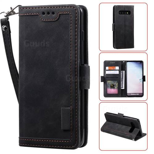 Luxury Retro Stitching Leather Wallet Phone Case for Samsung Galaxy S10 (6.1 inch) - Black