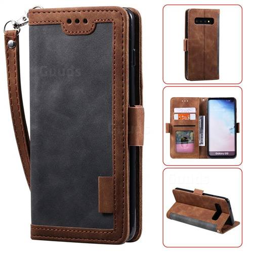 Luxury Retro Stitching Leather Wallet Phone Case for Samsung Galaxy S10 (6.1 inch) - Gray