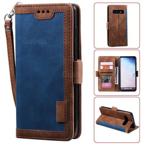 Luxury Retro Stitching Leather Wallet Phone Case for Samsung Galaxy S10 (6.1 inch) - Dark Blue