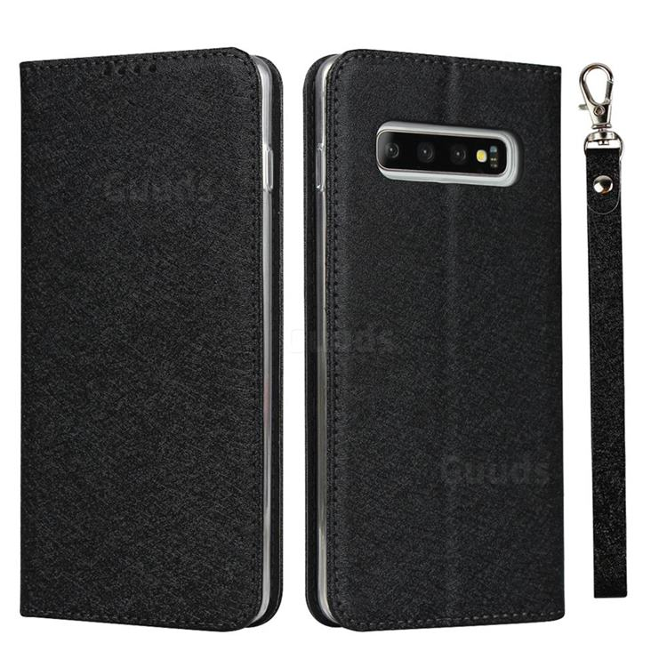 Ultra Slim Magnetic Automatic Suction Silk Lanyard Leather Flip Cover for Samsung Galaxy S10 (6.1 inch) - Black